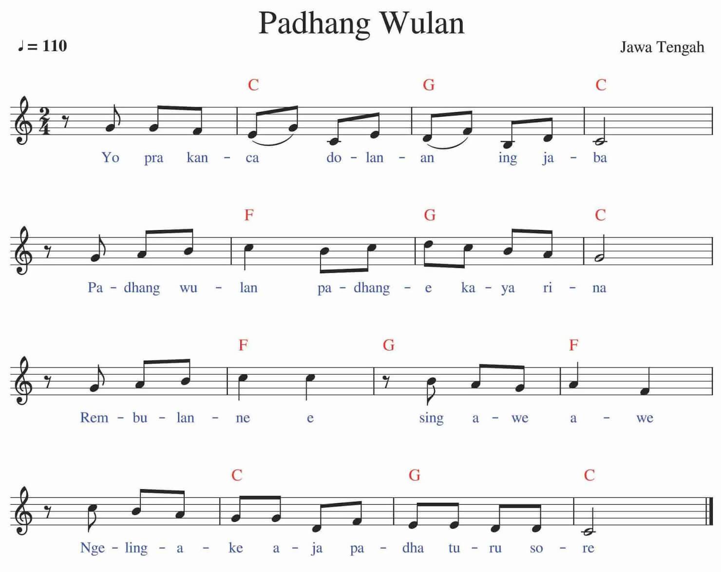 Chord dan Notasi Balok Padang Wulan